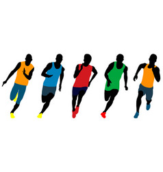 Set athletics runners sprinters vector