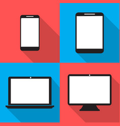 set monitors laptop tablet and phone flat style vector image