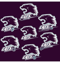 Set of wild cats sports vintage labels vector
