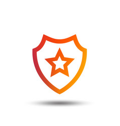 shield with star icon favorite protection vector image