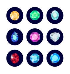 Shine diamond icons set vector