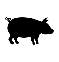 silhouette monochrome color with pig vector image