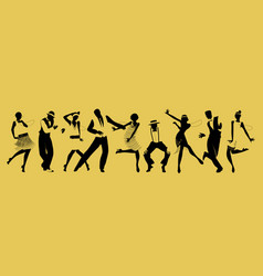 Silhouettes of nine people dancing charleston vector