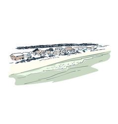 sketch landscape line skyline isolated vector image
