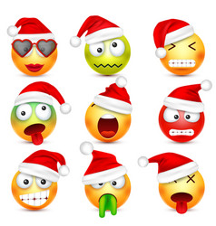 smileyemoticon set yellow face with emotions and vector image