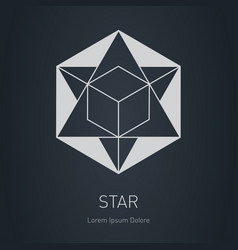 star with cube inside design element modern vector image