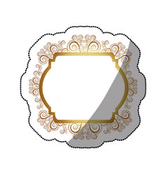 Sticker golden curved rectangle heraldic baroque vector