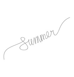 summer word continuous one line drawing vector image