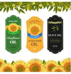 Sunflowers and olive oils labels with border vector