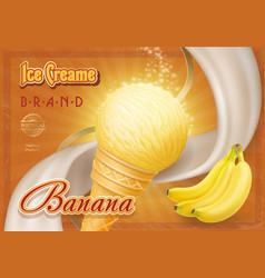 sweet banana ice cream design ad vector image