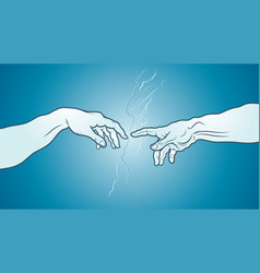 the creation of adam fragment azure cerulean vector image vector image