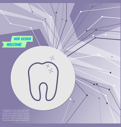 tooth icon on purple abstract modern background vector image