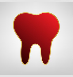 Tooth sign red icon on gold vector