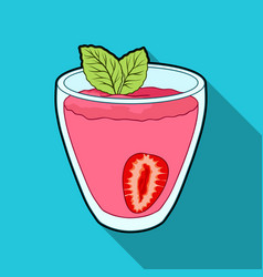 transparent mug with strawberry juice and mint vector image