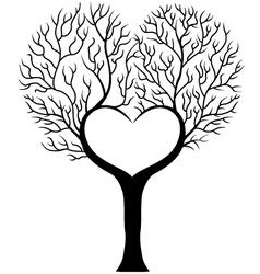 Tree branch in shape of heart vector