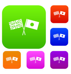 uk and japan flags crossed set collection vector image