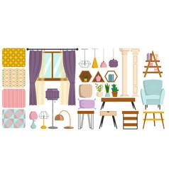 Vintage interior furniture rich wealthy house vector