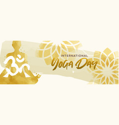 Watercolor yoga day banner woman in lotus pose vector