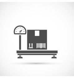 Weighing cardboard box on white vector image