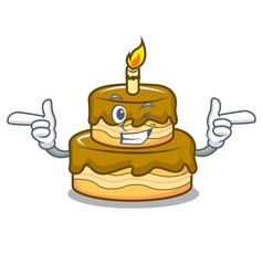 Wink birthday cake character cartoon vector