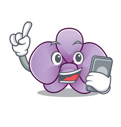 With phone orchid flower character cartoon vector