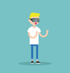 young blond teenage boy wearing virtual reality vector image