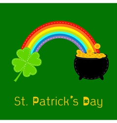 Clover leaf pot gold and rainbow St Patricks day vector image vector image