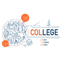college icons collection design vector image vector image