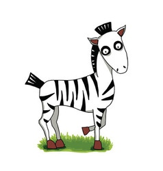 cute cartoon zebra on green grass vector image