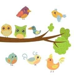 Different Cute Bird Chicks Sitting And Flying vector image