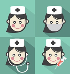 Flat Design Nurse Icon With Long Shadow Effect vector image vector image