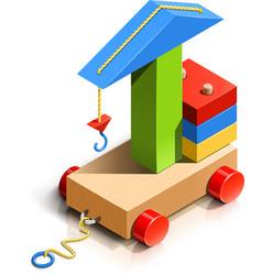 Lifting crane wooden toy vector