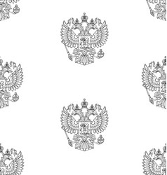 seamless pattern with russian outlined coat of arm vector image
