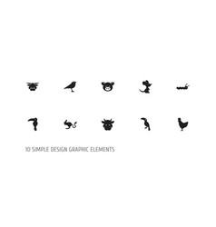 Set of 10 editable zoology icons includes symbols vector