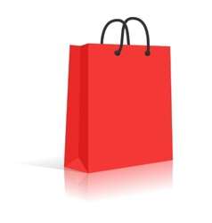 Blank Red Paper Shopping Bag With Black Rope vector image vector image