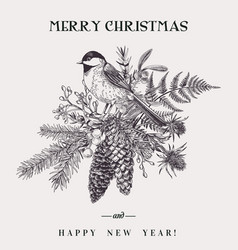 christmas bouquet and bird vector image