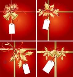 christmas ribbons bells and tags vector image vector image
