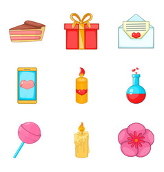 commemorative event icons set cartoon style vector image