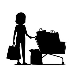 female silhouette with packages near shopping cart vector image vector image
