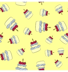 Seamless cream cake pattern with yellow background vector image vector image