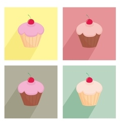 Sweet cherry cupcake flat icon colorful set vector image vector image
