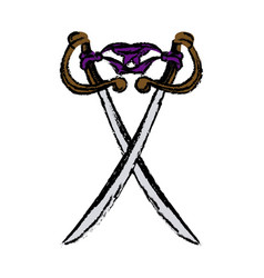 two cross pirate sword arm dangerous vector image