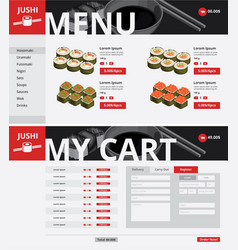 asian food website page template vector image vector image