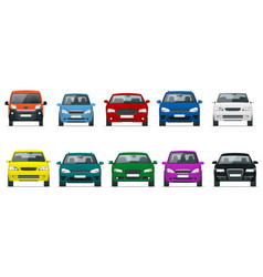 car front view set vehicles driving in the city vector image