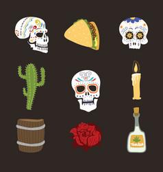 colorful symbols for dia de los muertos day of the vector image vector image