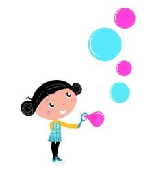 cute little girl blowing soap bubbles vector image