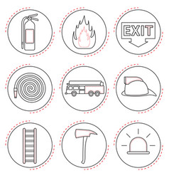 fire fighter icons line vector image