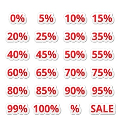 Retail sale percents red icons set vector image vector image