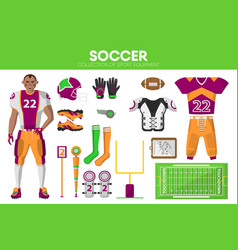 rugby football sport equipment game player garment vector image vector image