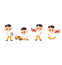 set young japanese boy playing toy vector image
